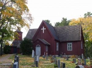 Merimaskun kirkko ulkoapäin kuvattuna